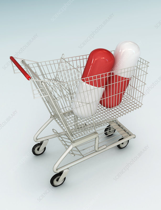Illustration of capsules in shopping cart