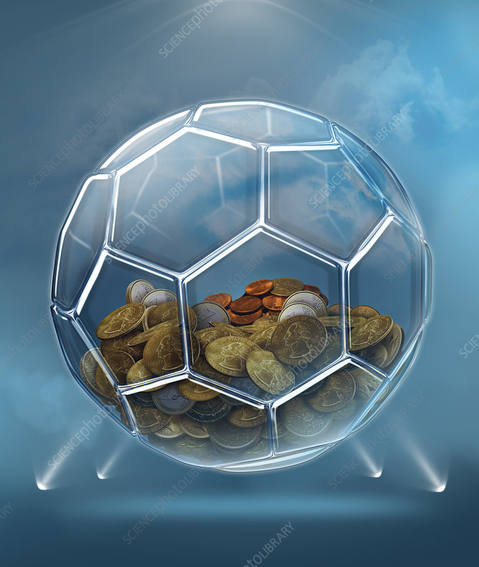 Illustration of coins inside transparent ball