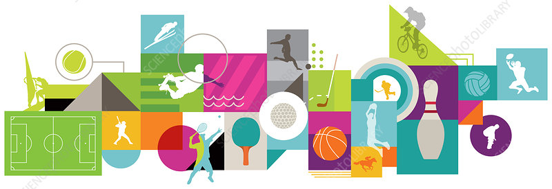 Illustration of various types of sports