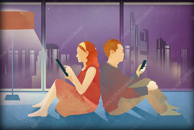 Illustration of couple using mobile devices