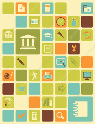 Illustration of educational icons over coloured background