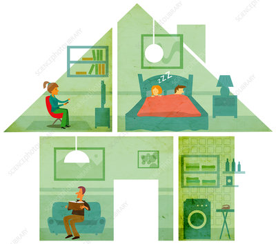 Illustration of family at home