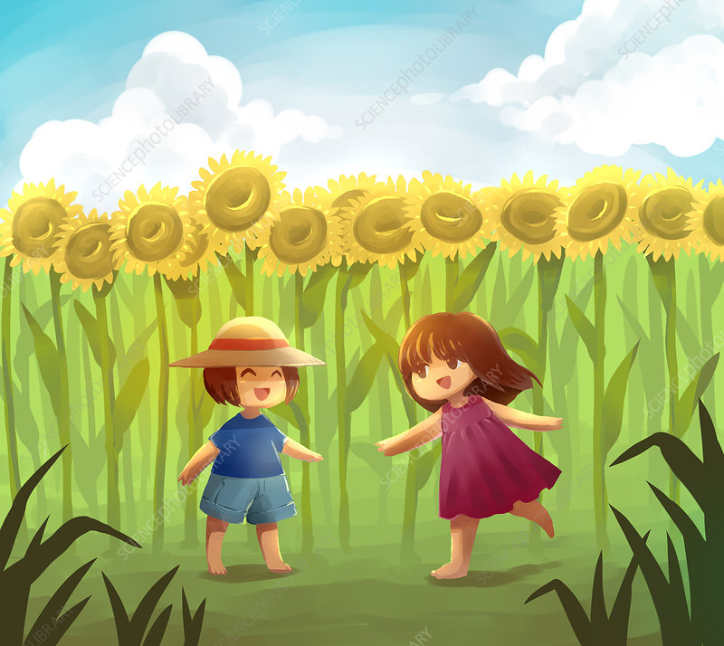 Illustration of friends playing in sunflower field