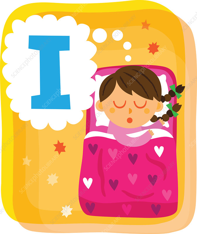 Illustration of girl dreaming about letter I in bed