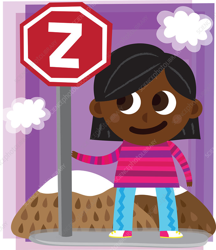 Illustration of girl standing by sign post with letter Z