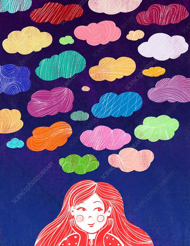 Illustration of girl with colourful clouds