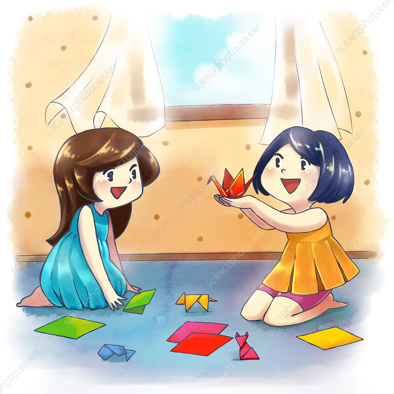 Illustration of girls making origami