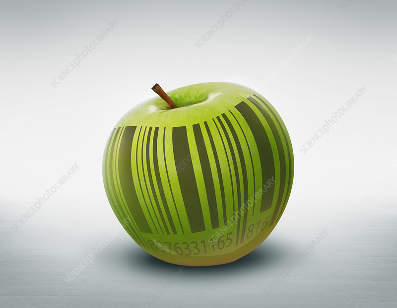 Illustration of green apple with barcode
