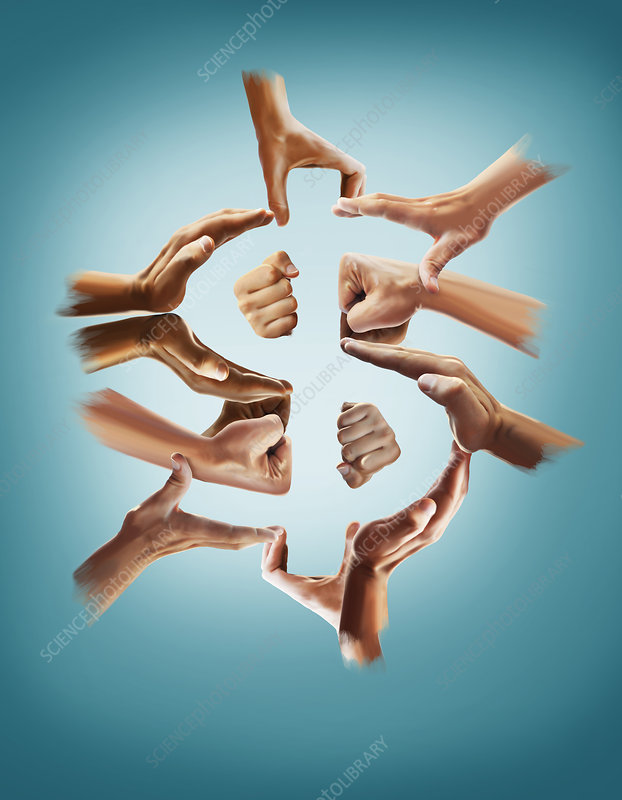 Illustration of hands forming dollar sign