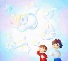 Illustration of happy children blowing bubbles outdoors