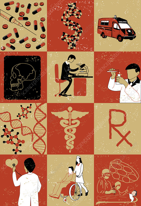 Illustration of healthcare services and research