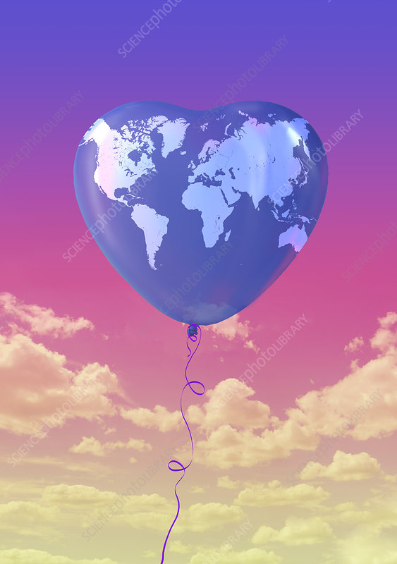 Illustration of heart shape balloon with world map