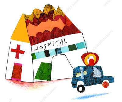 Illustration of hospital and ambulance