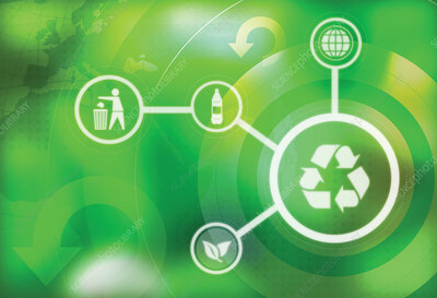 Illustration of icons representing recycling