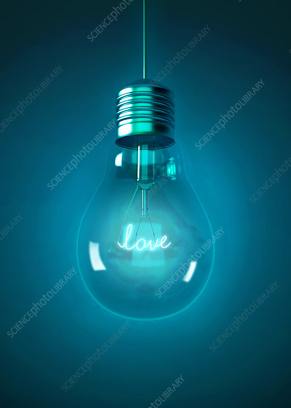 Illustration of light bulb with love sign