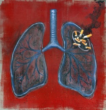 Illustration of lungs and cigarettes