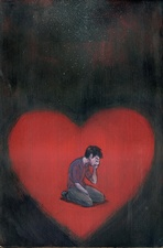Illustration of man crying in heart