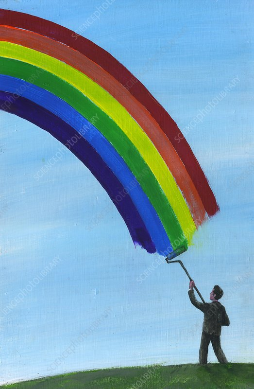 Illustration of man drawing rainbow in sky