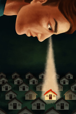 Illustration of man keeping an eye on house