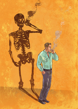 Illustration of man smoking cigarette with skeleton shadow