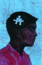 Illustration of man with missing piece of jigsaw