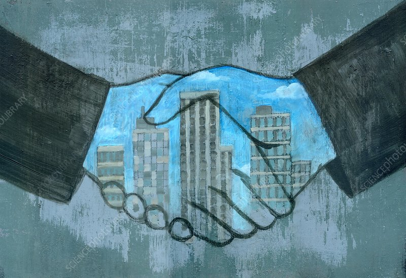 Illustration of merger's hands sealing a deal