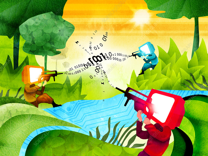 Illustration of online shooting game