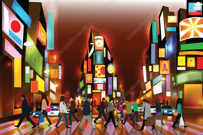 Illustration of people in Times Square, New York City