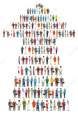 Illustration of people standing in arrow shape
