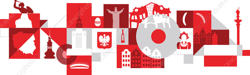 Illustration of Poland over white background