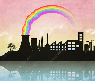 Illustration of rainbow and nuclear reactor