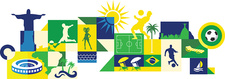 Illustration of sports and attractions in Brazil