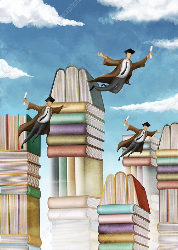 Illustration of stacked books and flying students