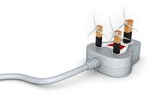 Illustration of three pin plug with wind turbines