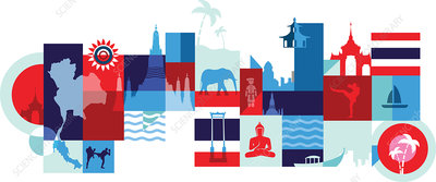 Illustration of tourist attractions in Thailand, Bangkok