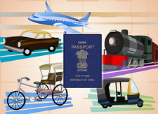 Illustration of transportation with a passport, India