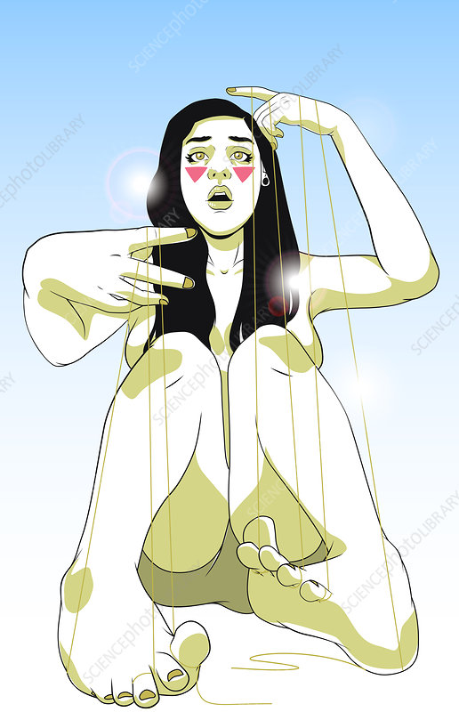 Illustration of unhappy young woman tied with strings