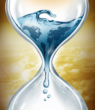 Illustration of water in hourglass