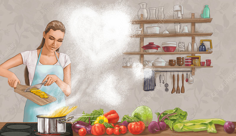 Illustration of woman cooking food