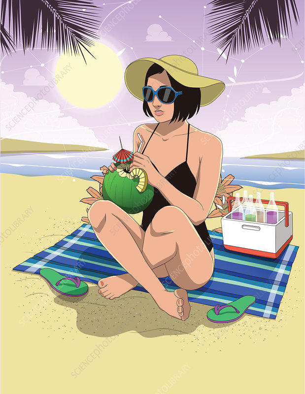Illustration of woman drinking coconut water at beach