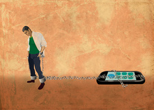 Illustration of young man chained to a mobile phone