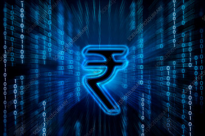 Indian rupee symbol on binary digits, illustration