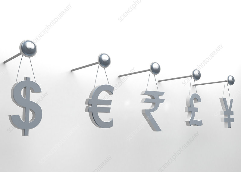 International currencies hanging on nail, illustration
