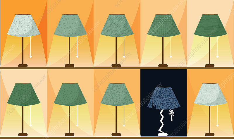 Lamp shade damaged due to over usage, illustration