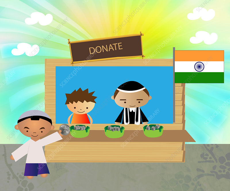 Man donating for country, illustration