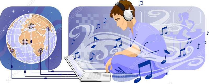 Man downloading music from internet, illustration