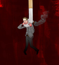 Man hung from cigarette, illustration