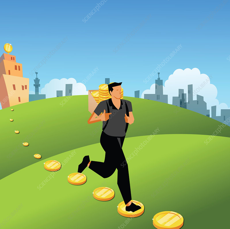 Man running with a bag of coins on his back, illustration