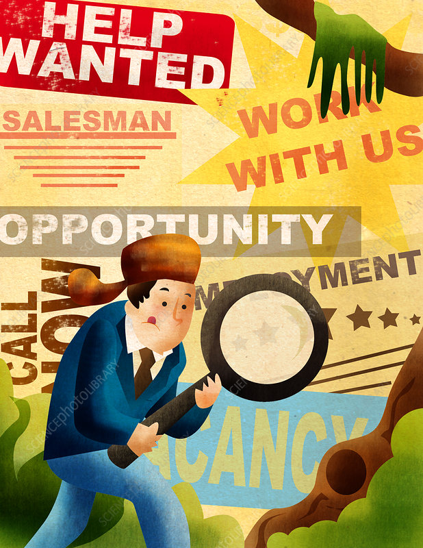 Man searching for job with magnifying glass, illustration