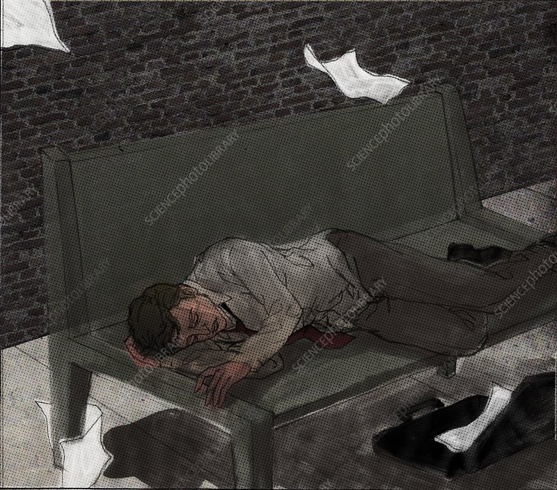 Man sleeping on bench depicting unemployment, illustration